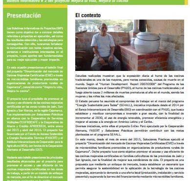 Boletín Informativo de Proyecto N°2: Generación de nuevo mercado de Cocinas mejoradas para familias caficultoras de Cajamarca