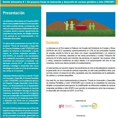 Boletín informativo de proyecto N°1: Fondo de innovación y desarrollo de cocinas portátiles a leña (FIDECOP)